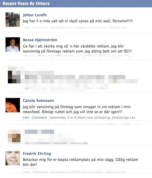Riksgälden Facebook wall