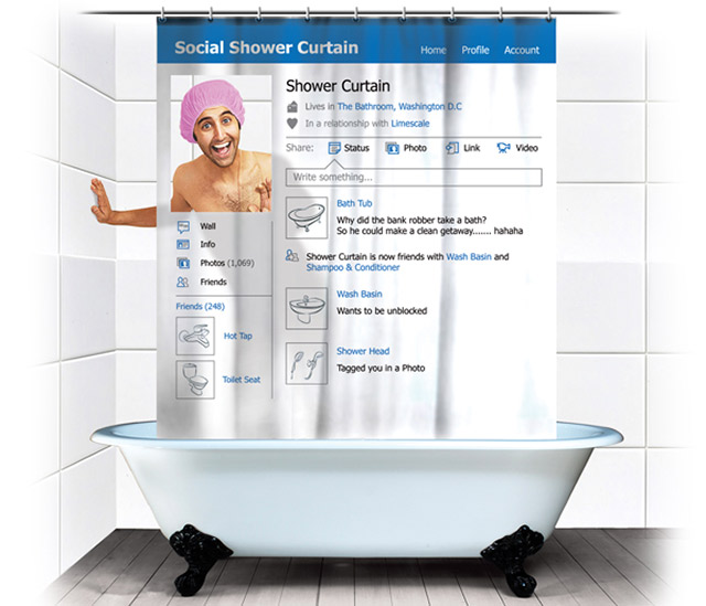The social media shower curtain..