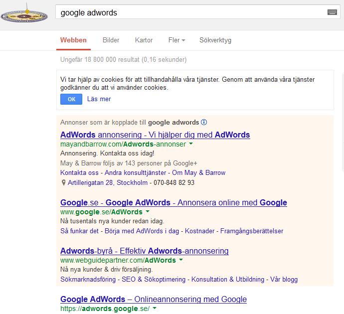 """Google tappar sin egen topplacering på sökningen """"Google Adwords"""""""