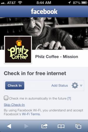 Checka in på Facebook och få gratis WiFi